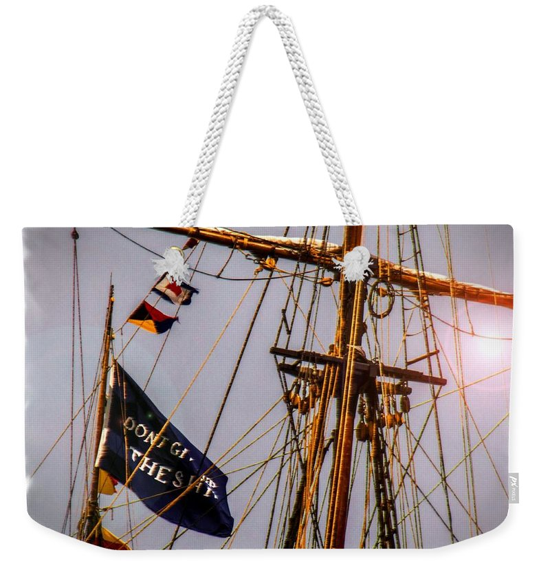 Weekender Tote Bag featuring the digital art Don't Give Up The Ship by Kathryn Strick
