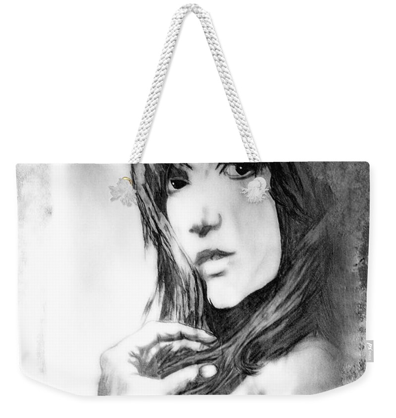 Woman Weekender Tote Bag featuring the drawing Don't Lie To Me by Joachim G Pinkawa
