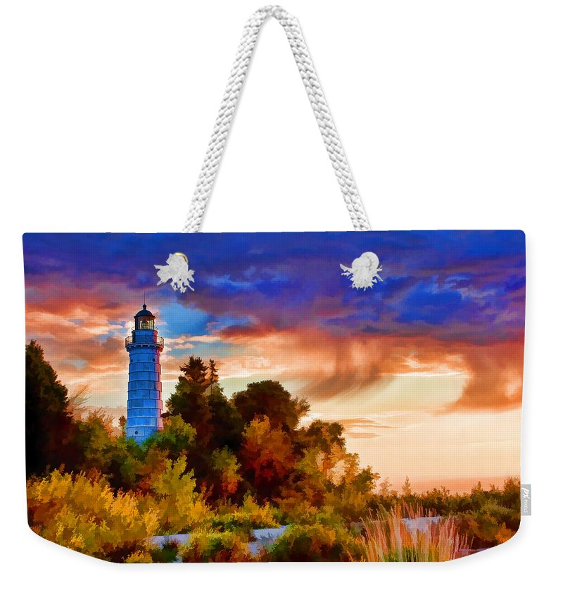 Cana Island Weekender Tote Bag featuring the painting Door County Cana Island Wisp by Christopher Arndt