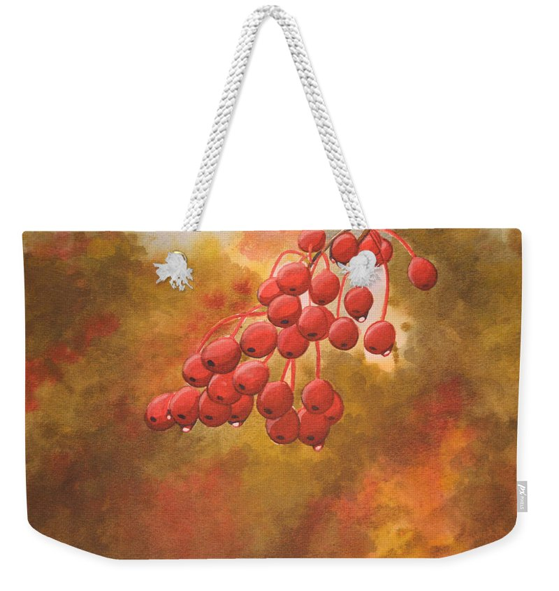 Rick Huotari Weekender Tote Bag featuring the painting Door County Cherries by Rick Huotari