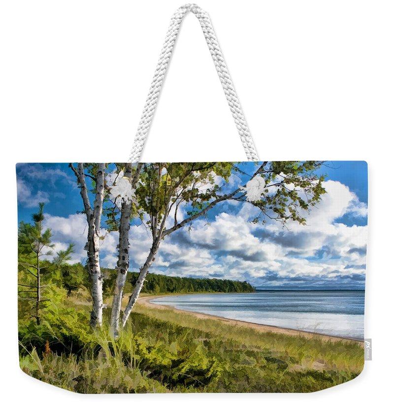 Door County Weekender Tote Bag featuring the painting Door County Europe Bay Birch by Christopher Arndt