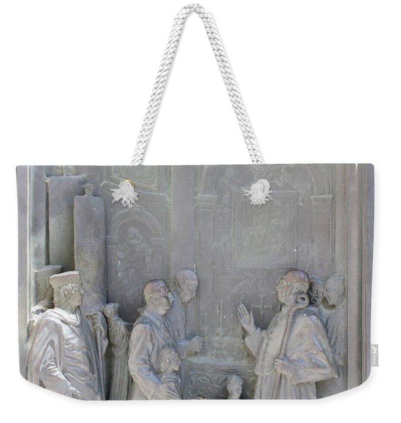 Relief Weekender Tote Bag featuring the photograph Door Detail Cathedral Siena by Christiane Schulze Art And Photography