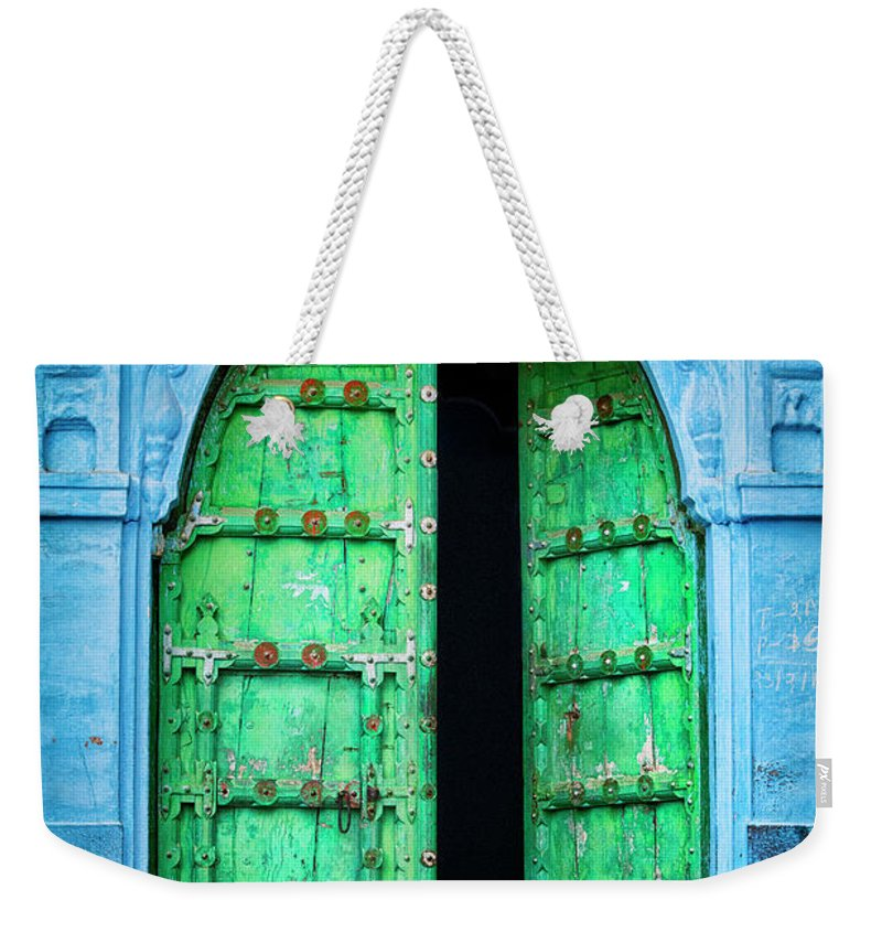 Architectural Feature Weekender Tote Bag featuring the photograph Door In The Blue City - Jodhpur, India by Powerofforever