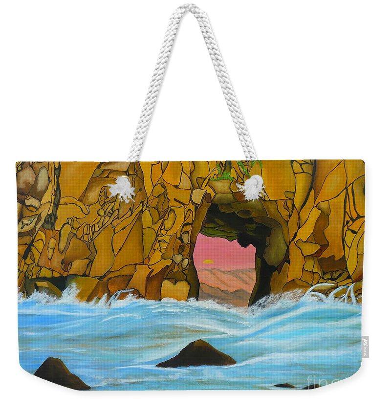 Sun Weekender Tote Bag featuring the painting Doorway To The Sun by Anthony Dunphy