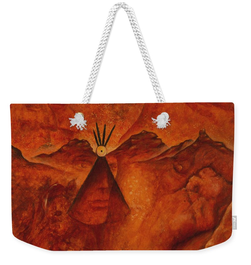 Native American Weekender Tote Bag featuring the painting Doorways by Kevin Chasing Wolf Hutchins