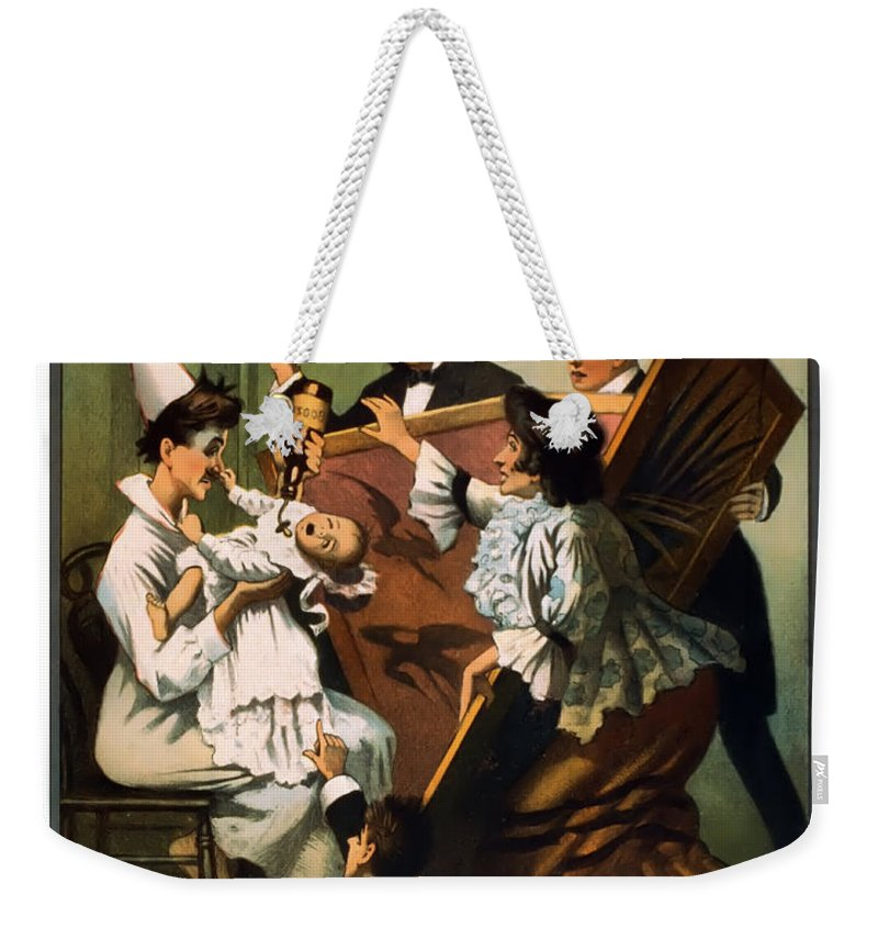 Vintage Poster Weekender Tote Bag featuring the mixed media Doping The Baby by Terry Reynoldson