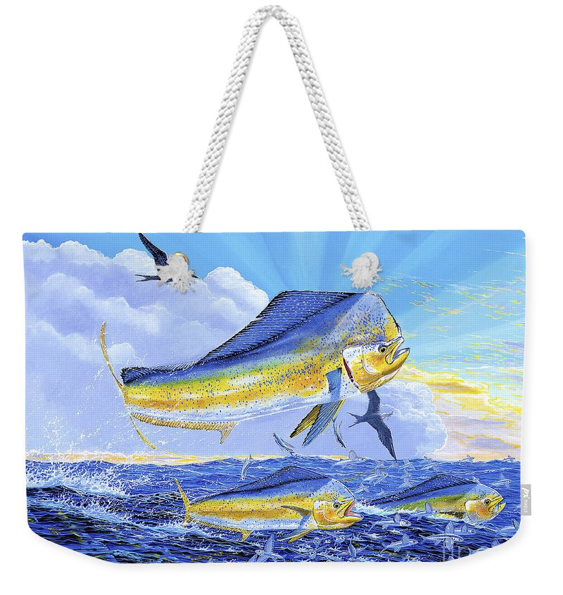 Carey Chen Weekender Tote Bag featuring the painting Dorado Sunrise Off0098 by Carey Chen