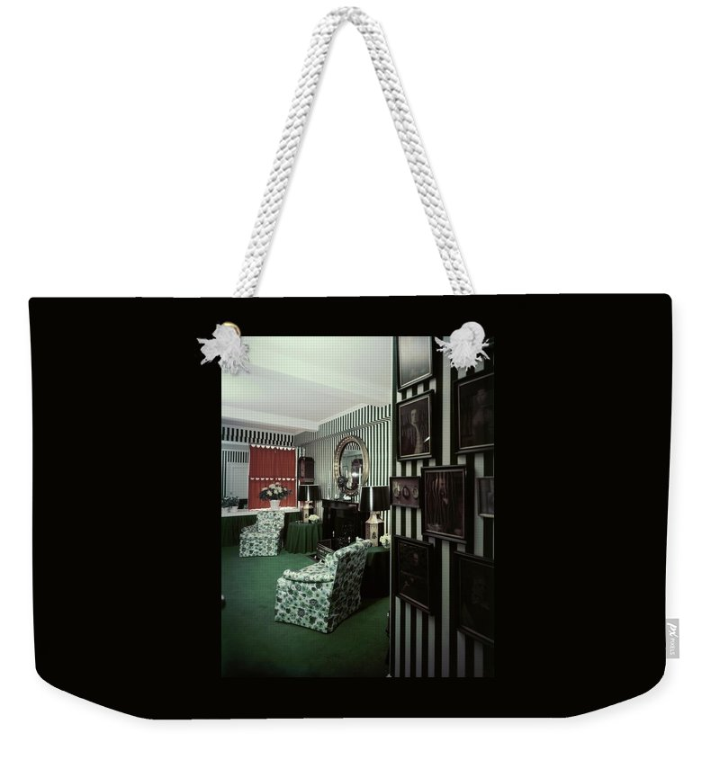 Indoors Weekender Tote Bag featuring the photograph Dorothy Draper's Study by Pedro E. Guerrero