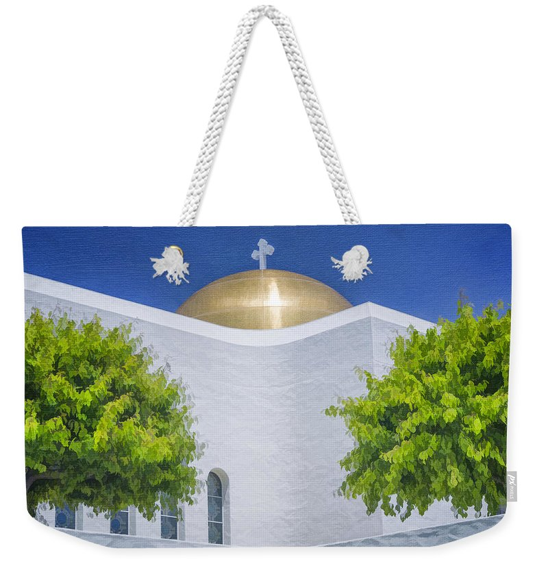Church Weekender Tote Bag featuring the photograph Double Cross by Joan Carroll