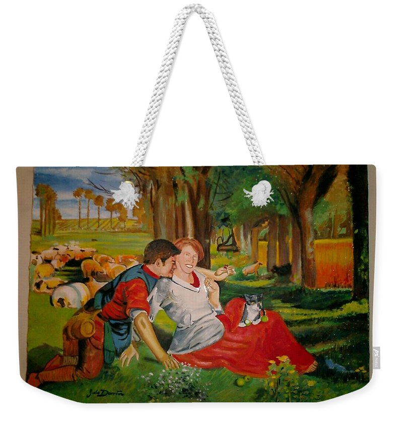 Weekender Tote Bag featuring the painting double portrait of freinds Gunner and Jessie by Jude Darrien