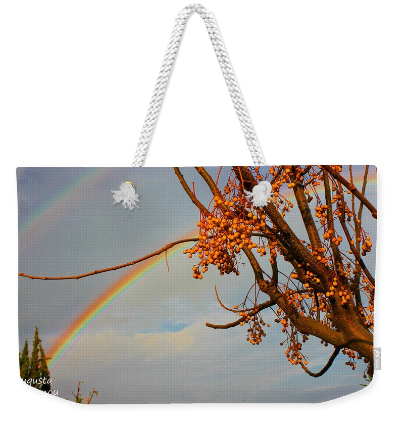 Rainbow Weekender Tote Bag featuring the photograph Double Rainbow by Augusta Stylianou