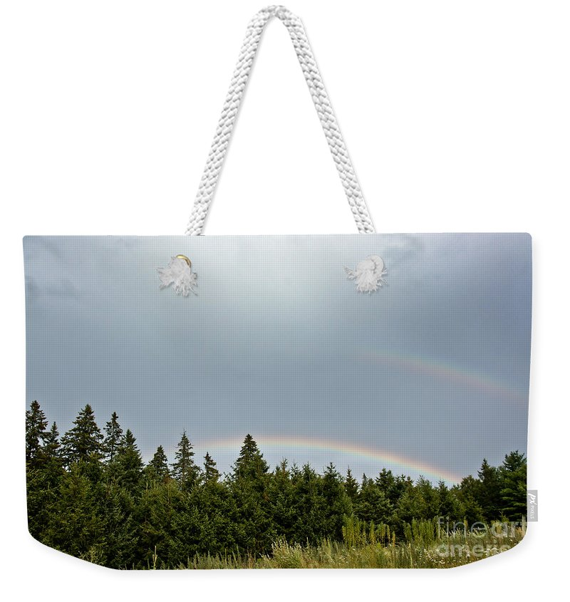 Weekender Tote Bag featuring the photograph Double Rainbow by Cheryl Baxter