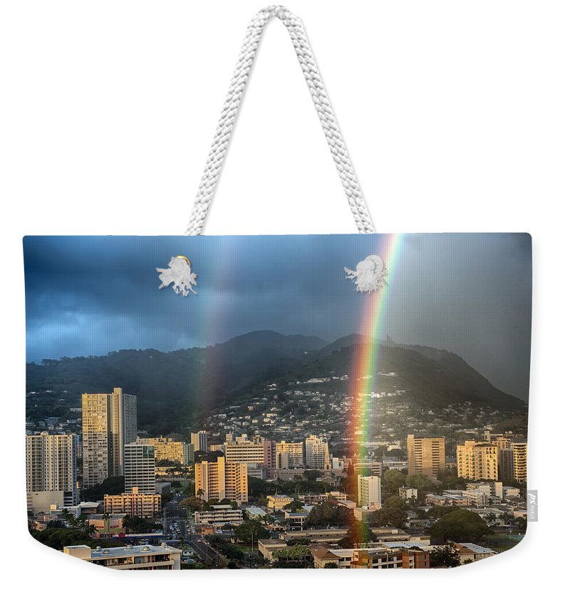 Hawaii Weekender Tote Bag featuring the photograph Double Rainbow by Dan McManus