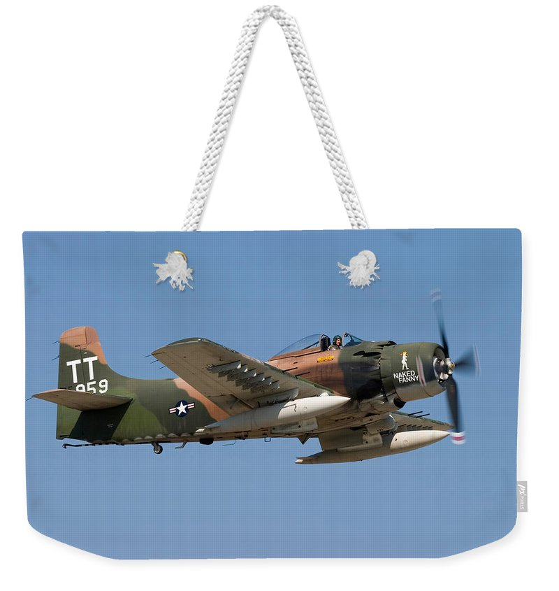 3scape Weekender Tote Bag featuring the photograph Douglas Ad-4 Skyraider by Adam Romanowicz