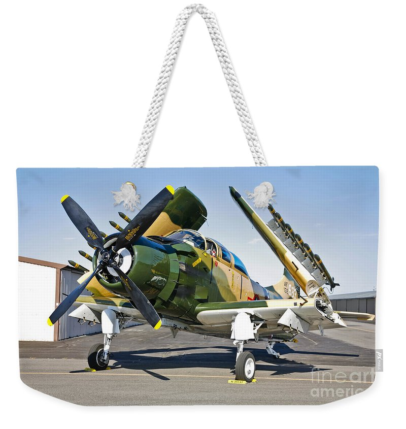 Horizontal Weekender Tote Bag featuring the photograph Douglas Ad-5 Skyraider Attack Aircraft by Scott Germain