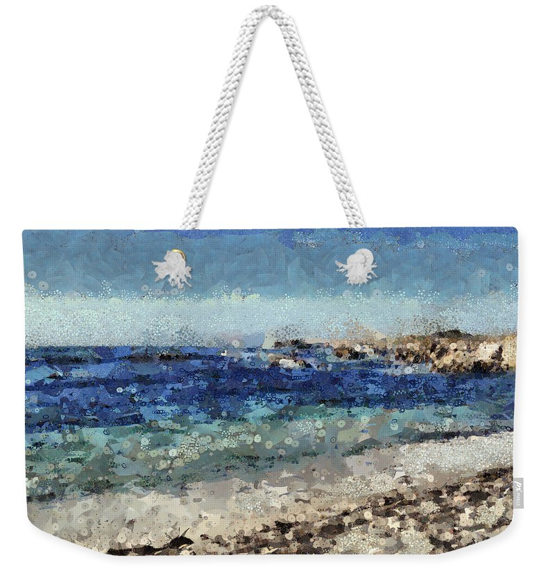 Sea Weekender Tote Bag featuring the mixed media Down By The Sea 1 by Angelina Tamez