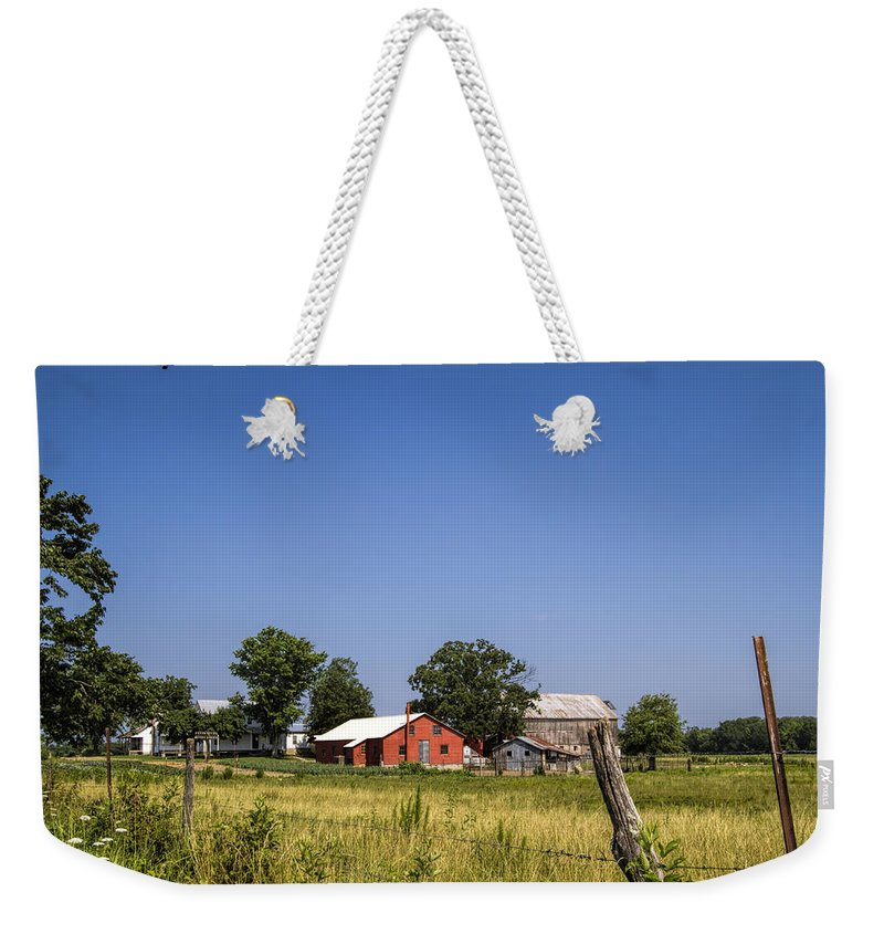 Amish Weekender Tote Bag featuring the photograph Down Home Amish Farm by Kathy Clark