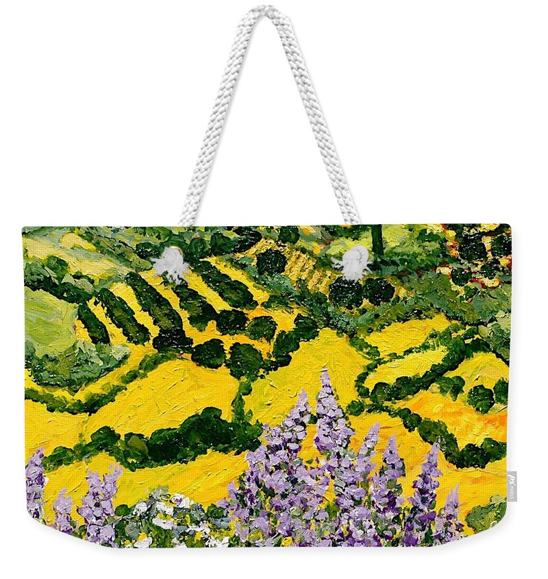 Landscape Weekender Tote Bag featuring the painting Down The Hill by Allan P Friedlander
