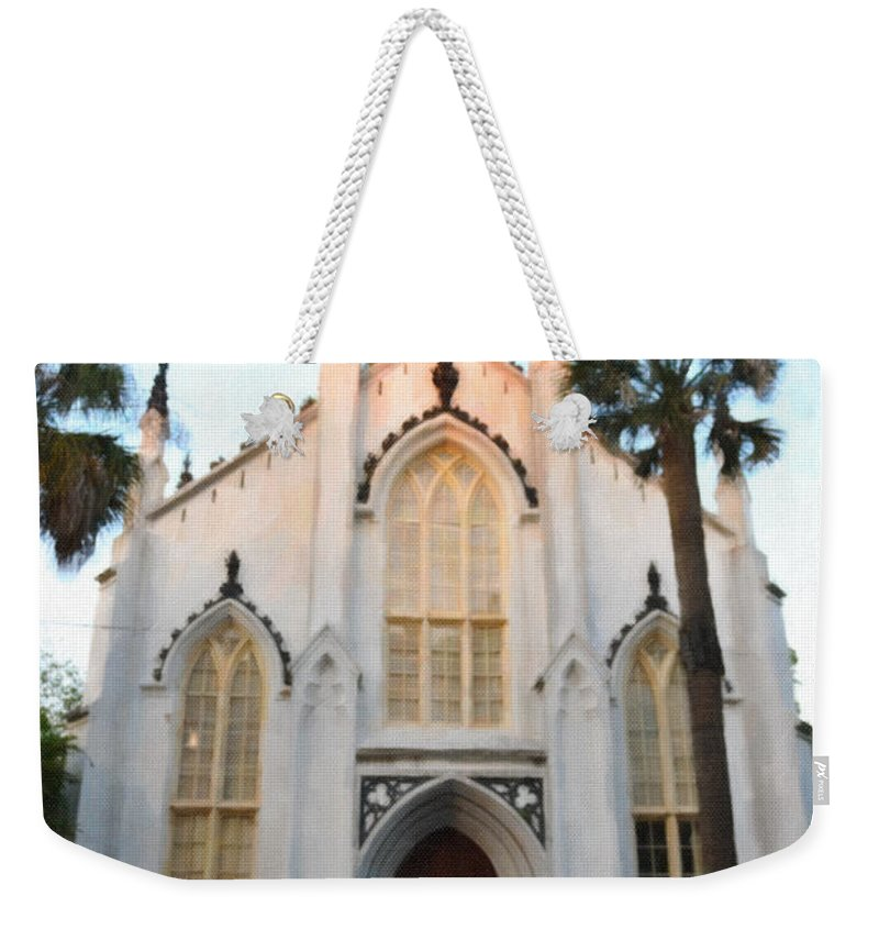 French Huguenot Weekender Tote Bag featuring the digital art Downtown Charleston Church by Dale Powell