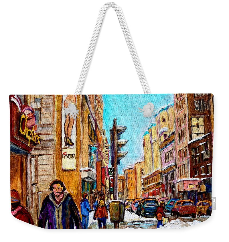 La Senza Lingerie Weekender Tote Bag featuring the painting Downtown City Life by Carole Spandau