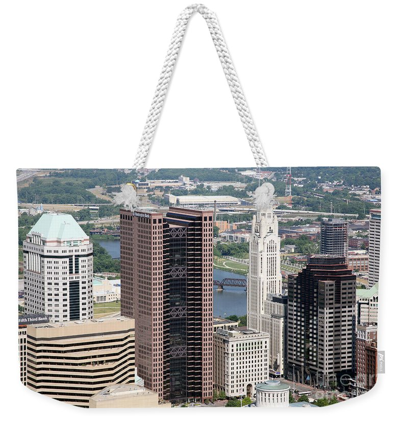 Columbus Weekender Tote Bag featuring the photograph Downtown Columbus by Bill Cobb