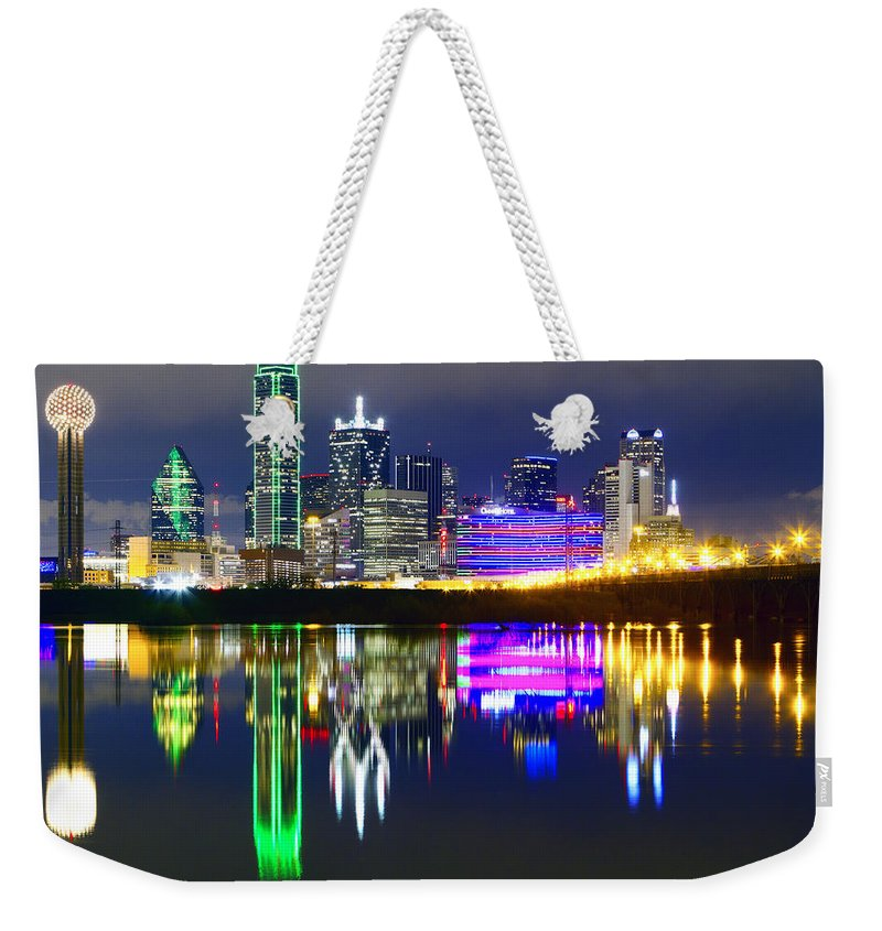 Scenics Weekender Tote Bag featuring the photograph Downtown Dallas Skyline Reflections by Matthew Visinsky
