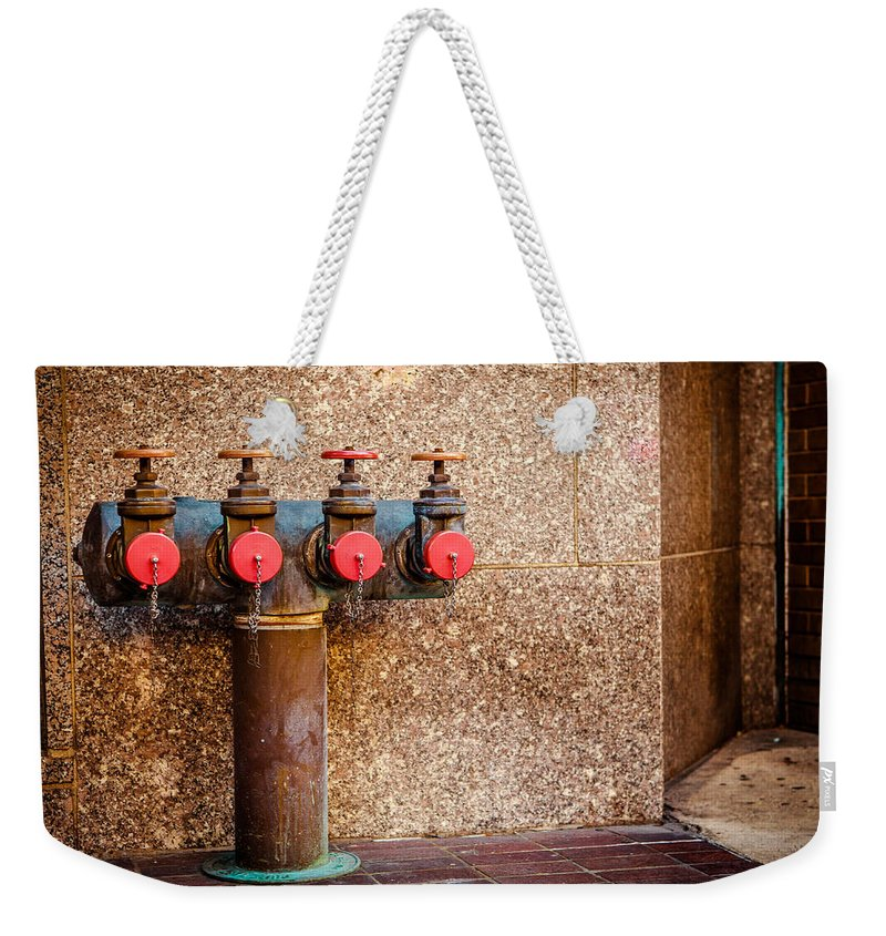 Downtown Weekender Tote Bag featuring the photograph Downtown Extinguisher by Melinda Ledsome