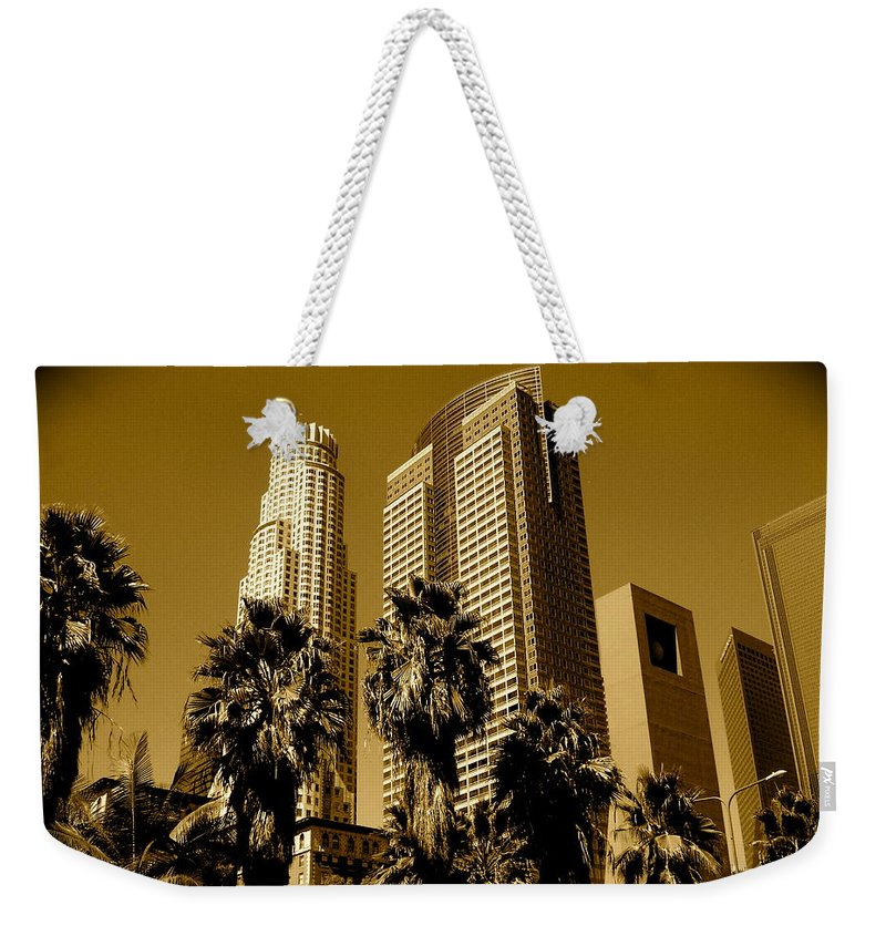 Los Angeles Prints Weekender Tote Bag featuring the photograph Downtown Los Angeles by Monique's Fine Art