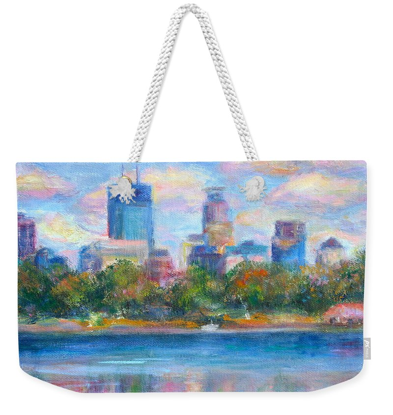 Quin Sweetman Weekender Tote Bag featuring the painting Downtown Minneapolis Skyline From Lake Calhoun by Quin Sweetman
