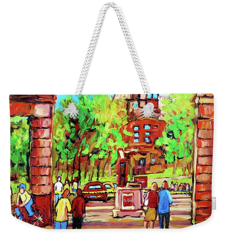 Montreal Weekender Tote Bag featuring the painting Downtown Montreal Mcgill University Streetscenes by Carole Spandau