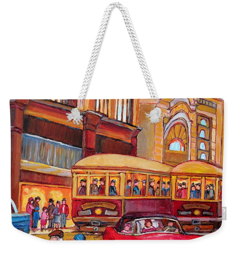 Montreal Weekender Tote Bag featuring the painting Downtown Montreal-streetcars-couple Near Red Fifties Mustang-montreal Vintage Street Scene by Carole Spandau