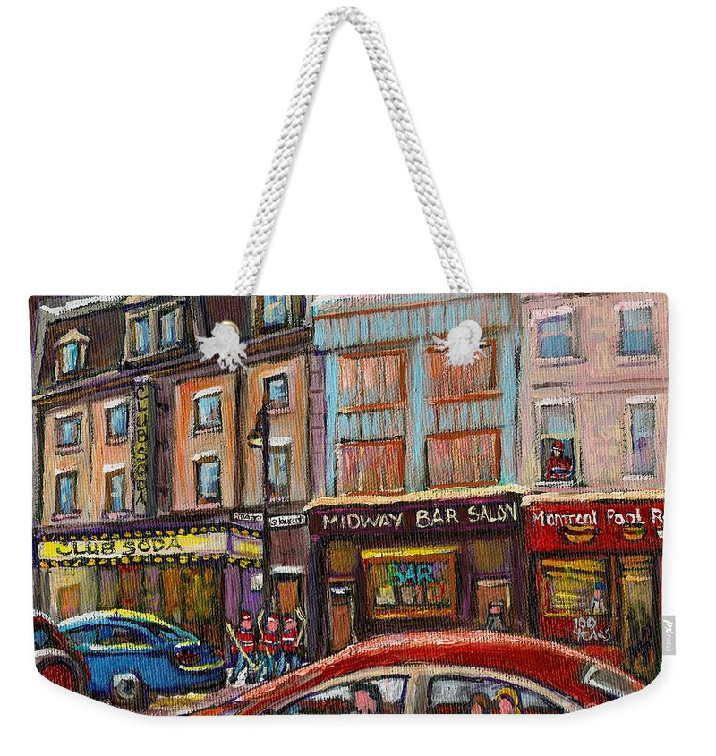 Montreal Weekender Tote Bag featuring the painting Downtown Montreal Streetscene by Carole Spandau