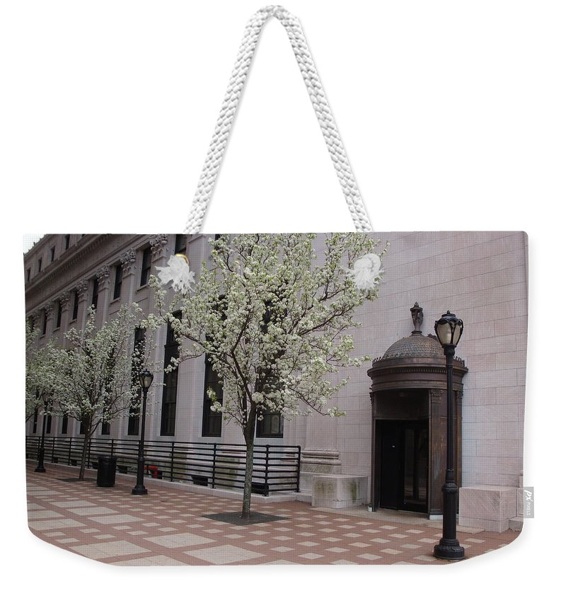 Pattern Weekender Tote Bag featuring the photograph Downtown New Haven Connecticut by Kim Chernecky