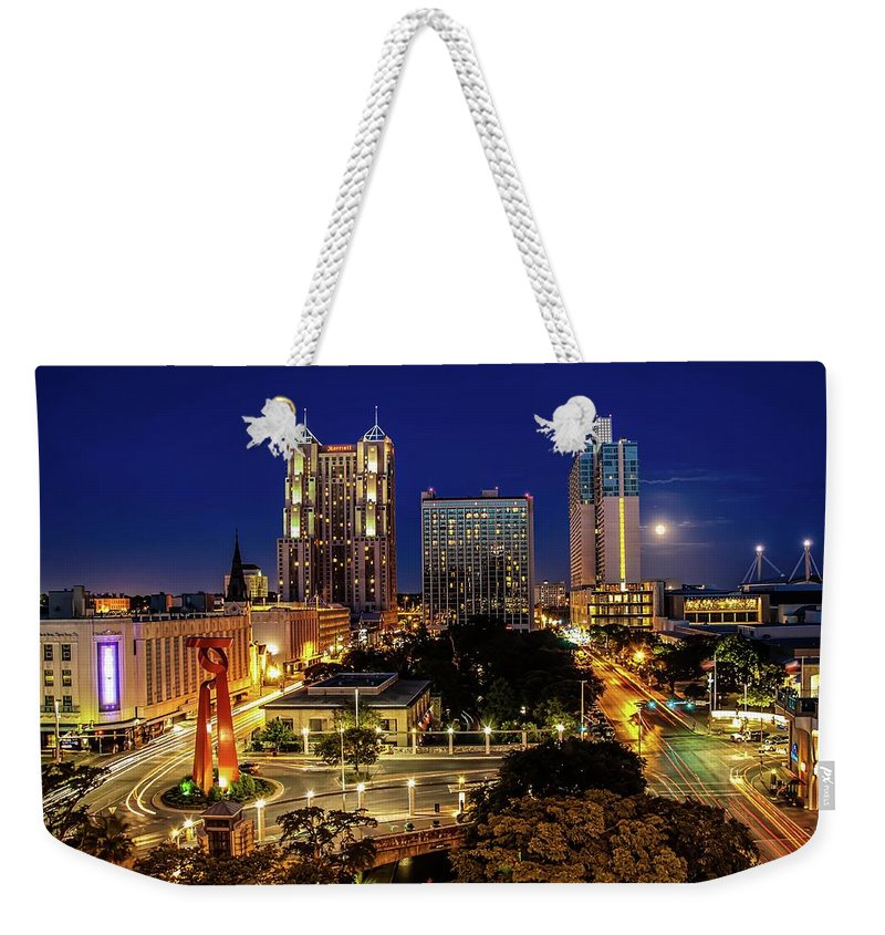 Downtown District Weekender Tote Bag featuring the photograph Downtown San Antonio by John Cabuena Flipintex Fotod