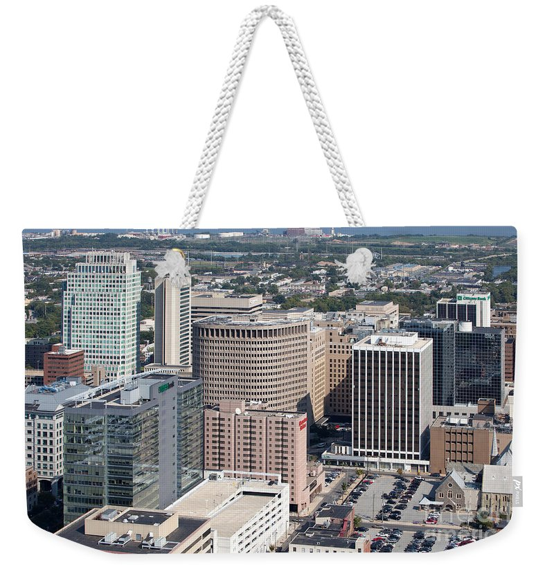 Aerial Weekender Tote Bag featuring the photograph Downtown Skyline Of Wilmington by Bill Cobb