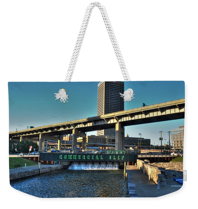 Commercial Slip Weekender Tote Bag featuring the photograph Downtown View From The Harbor by Michael Frank Jr