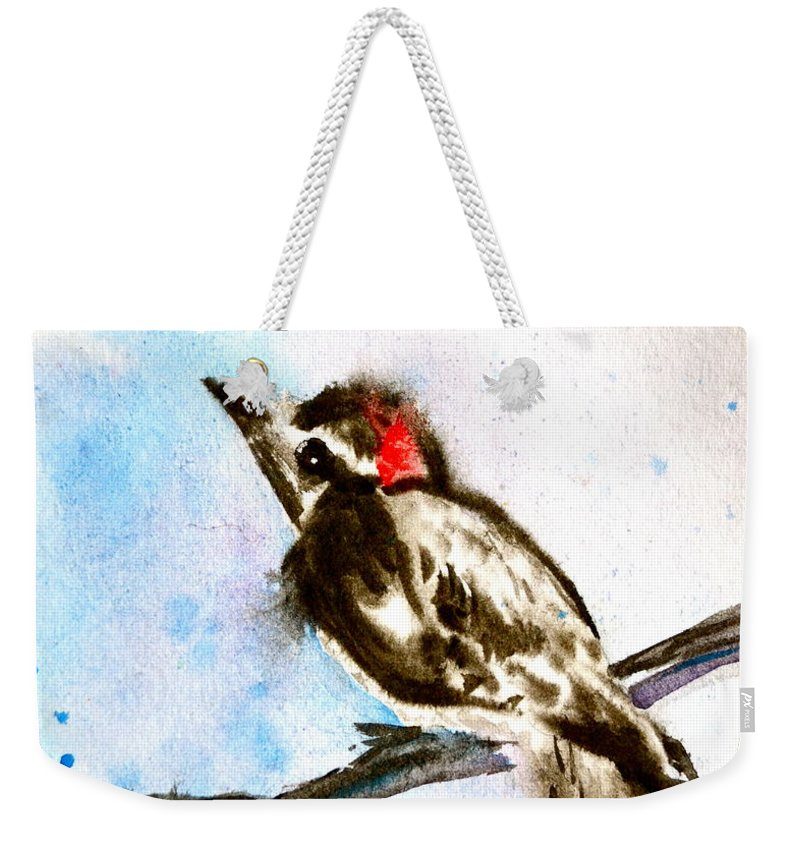 Downy Woodpecker Sumi-e Weekender Tote Bag featuring the painting Downy Woodpecker Sumi-e by Beverley Harper Tinsley