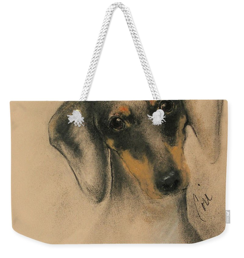Dachshund Weekender Tote Bag featuring the drawing Doxie by Cori Solomon