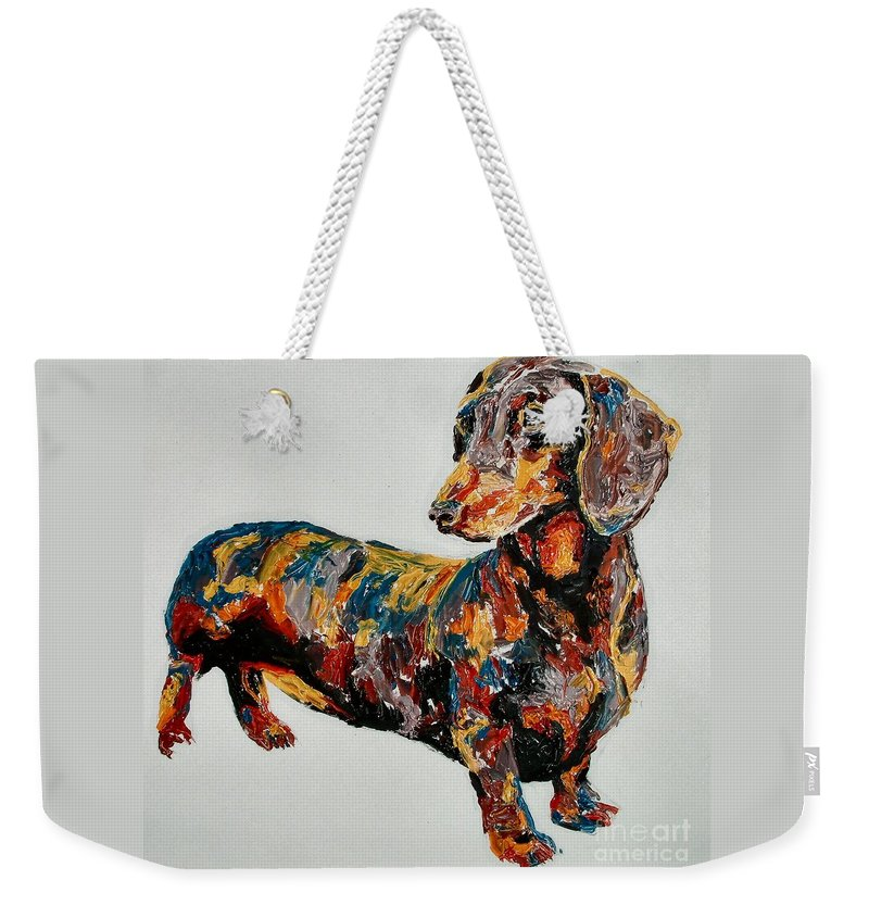 Daschund Weekender Tote Bag featuring the painting Doxie by Debbie Sampson