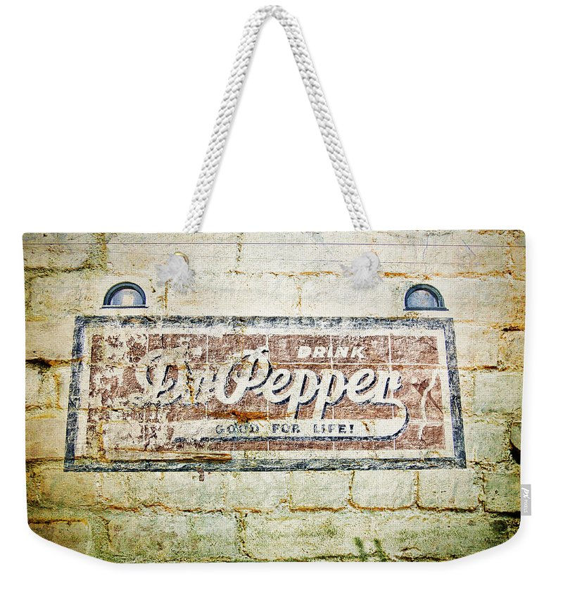Dr Pepper Weekender Tote Bag featuring the photograph Dr Pepper-good For Life by Douglas Barnard