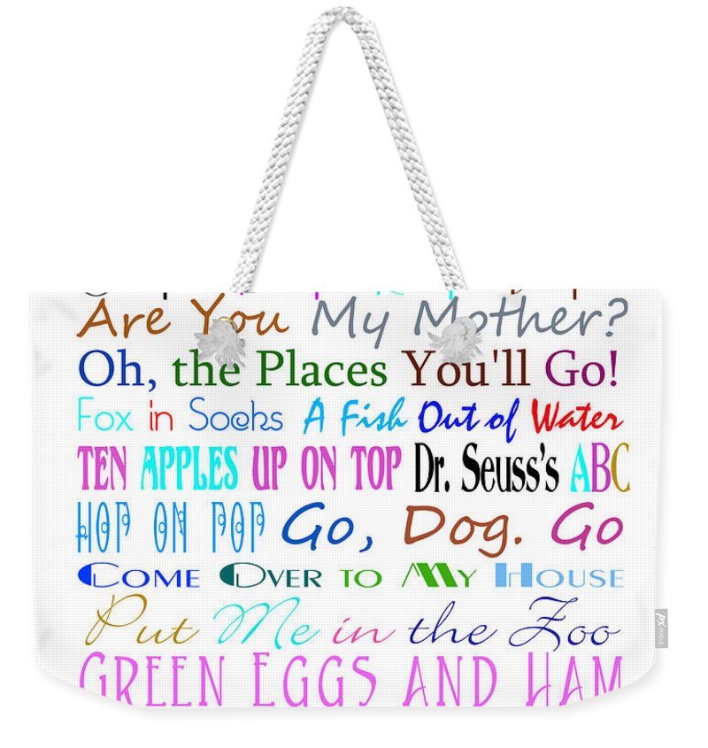 Dr Seuss Weekender Tote Bag featuring the digital art Dr Seuss Books 3 by Andee Design