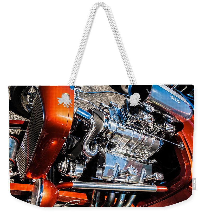 Chrome Weekender Tote Bag featuring the photograph Drag Queen - Hot Rod Blown Chrome by Steven Milner
