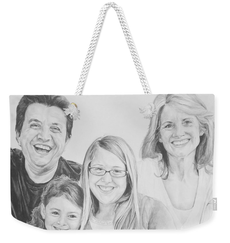 Family Weekender Tote Bag featuring the painting Dragojlovic Family by Tamir Barkan