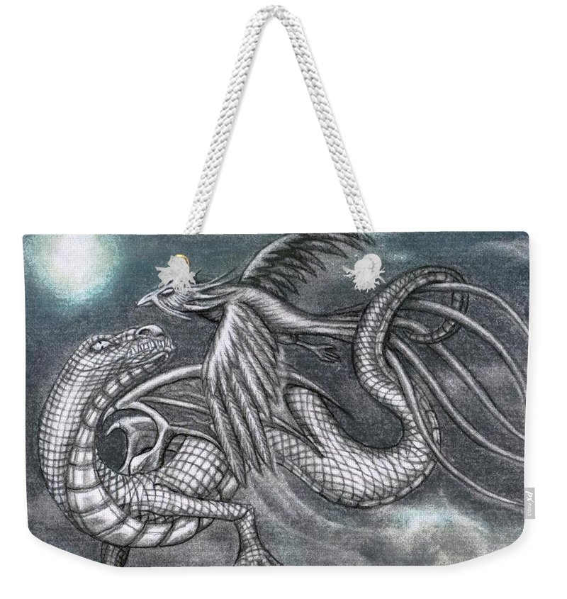 Weekender Tote Bag featuring the drawing Dragon And Phoenix by Couture Yan-D