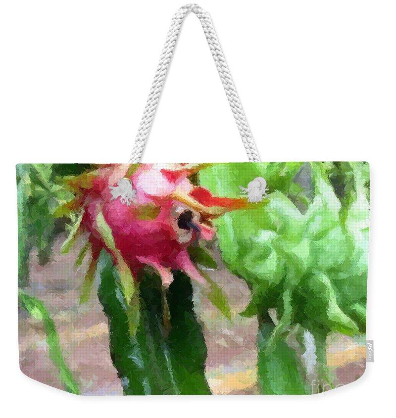Pitaya Flower Weekender Tote Bag featuring the painting Dragon Fruit Also Know As Pitaya Or Pitahaya by Jeelan Clark