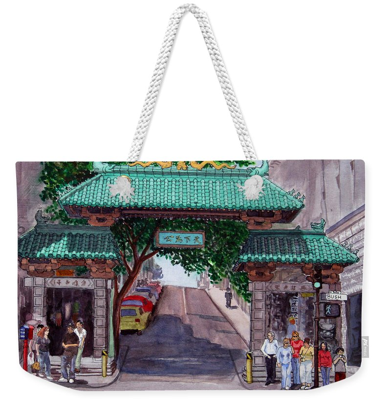 Dragon Gate Weekender Tote Bag featuring the painting Dragon Gate by Mike Robles