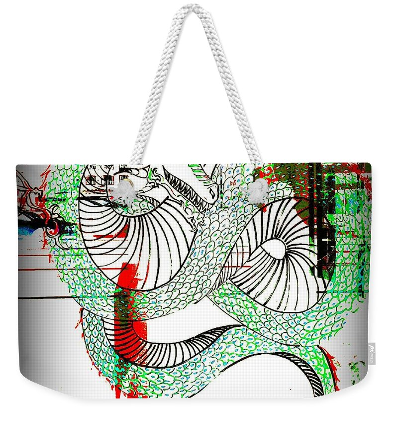 Weekender Tote Bag featuring the photograph Dragon Inverted by Kelly Awad