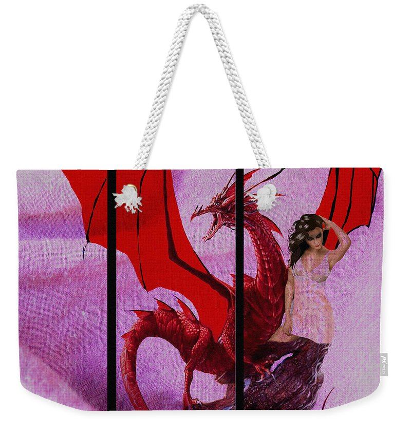 Dragon Weekender Tote Bag featuring the digital art Dragon Power-featured In Comfortable Art Group by Ericamaxine Price