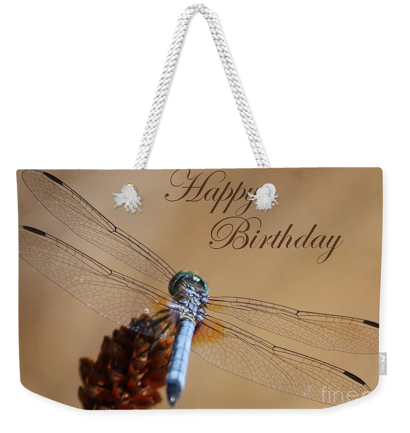 Birthday Card Weekender Tote Bag featuring the photograph Dragonfly Birthday Card by Carol Groenen