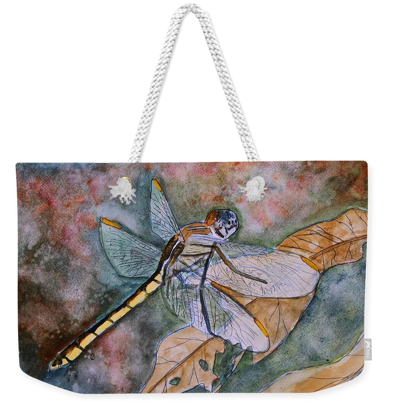Dragonfly Weekender Tote Bag featuring the painting Dragonfly by Derek Mccrea